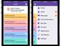 Health App - Home screen & side menu