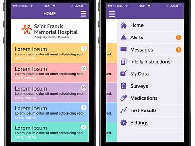 Health App - Home screen & side menu ui ios mobile app health side menu home iphone