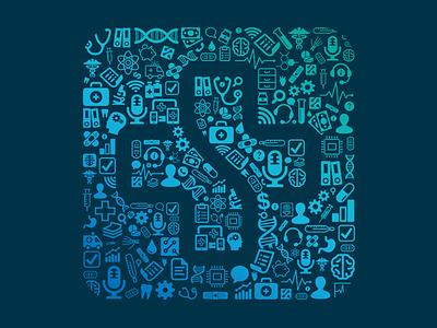 Health-related pattern pattern branding logo healthcare collage hologram