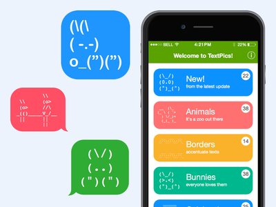 TextPics app ios mobile iphone app texting messaging emoji ascii colorful flat design