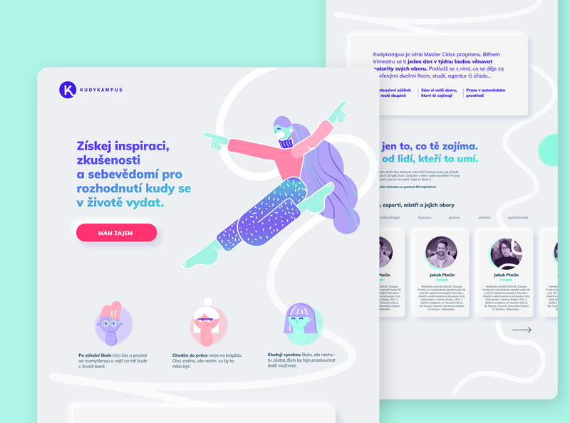Kudykampus Landing page cheerful joy happy smile confident self-assured education student characters character illustraion webdesign web dashboad ui design interface typography webside ui landingpage