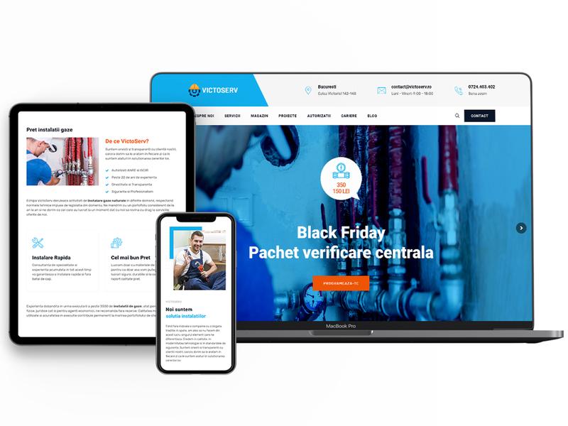 Website firma instalatii gaze web ux woocomerce developement wordpress web design branding