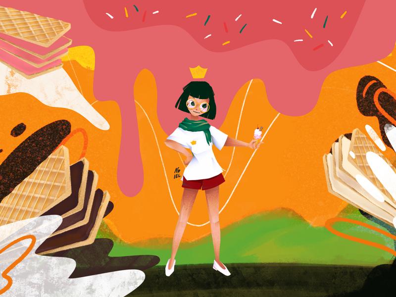 Little Joy ice cream branding cute girl character illustration digital painting procreate character design illustration art