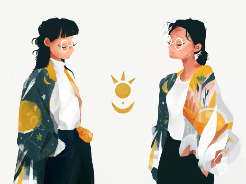 Sun and Moon branding design cute girl digital painting character illustration procreate character design illustration art