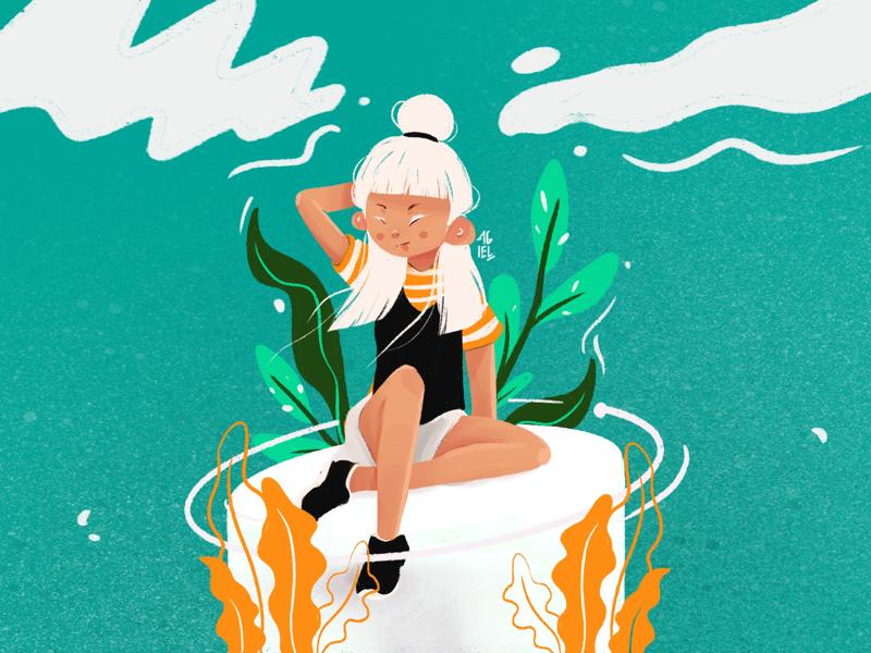 Ocean procreate illustration digital painting girl cute character design art