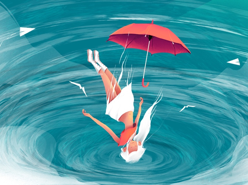 Fall girl character illustration procreate digital painting character design illustration art