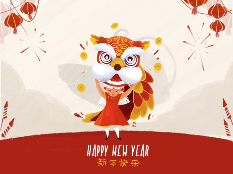 Happy Chinese New Year 2020 year of the rat chinese chinese new year character illustration digital painting procreate character design illustration art