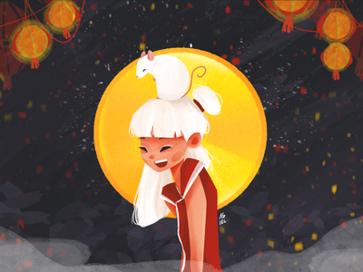 Year of The Rat chinese new year lunarnewyear cute girl character illustration digital painting procreate character design illustration art