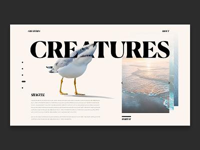 Concept UI   Creatures   @Shagull photo manipulation web ui design