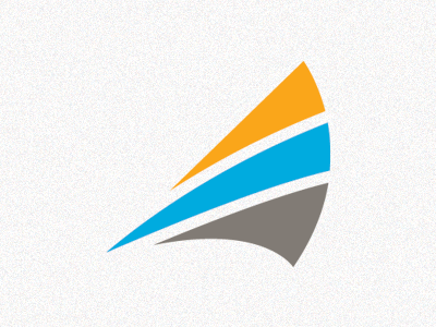 Windy logo sail wind blue orange grey