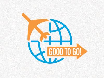 Good To Go travel plane airplane globe world blue orange
