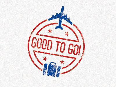 Good To Go 2 travel airplane plane luggage stamp passport logo icon blue red