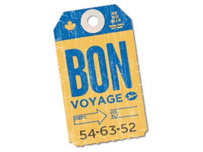 Bon Voyage vintage travel blue gold luggage bag tag retro
