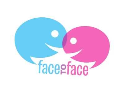Face to face blue pink overlap faces face smile conversation talking speech bubble