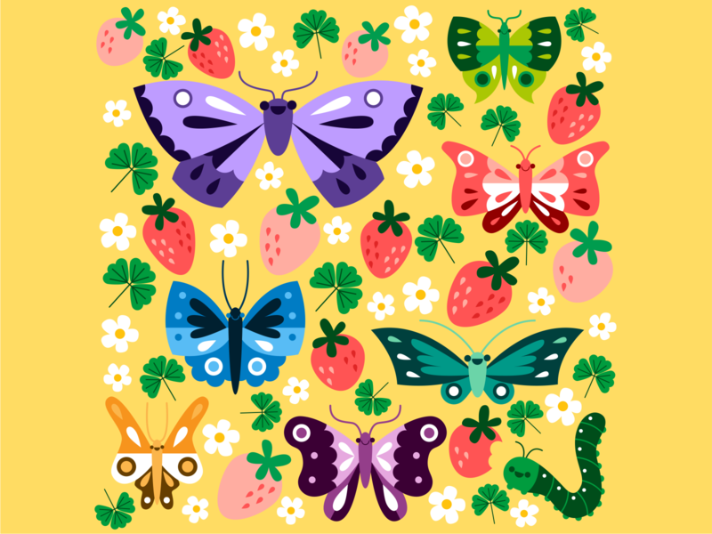 Strawberry Patch springtime vector colorful bug butterfly flower caterpillar strawberry spring happy cute illustration