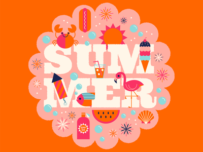 Happy Summer! vector tropical fireworks sun hot ice cream flamingo beach summer typography type fun cute illustration