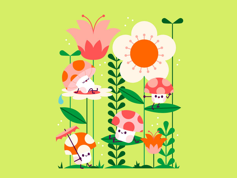 Forest Friends fungi vector woodland flower mushroom forest colorful happy character fun cute illustration
