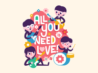 All You Need is Love typography type lettering thebeatles band love beatles vector retro happy character fun cute illustration