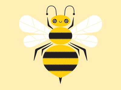 Busy Bee charm stickermule bumblebee insect bee simple vector character fun cute illustration