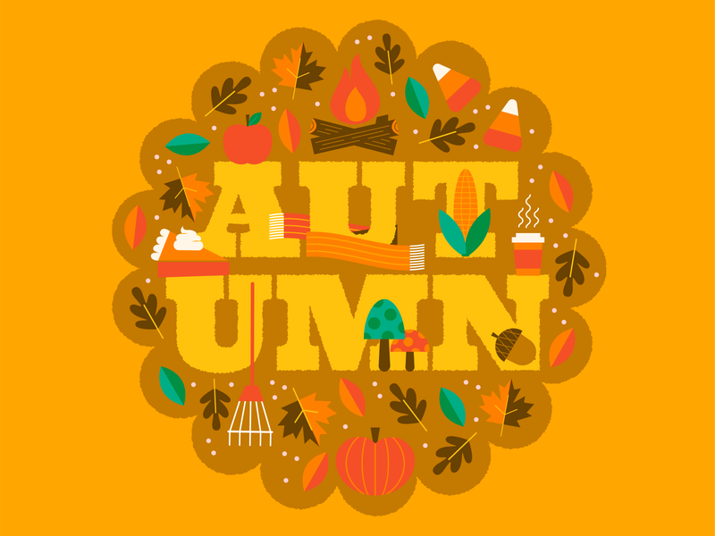 Happy Autumn! autumn leaves autumn vector illustration typography type season pumpkin fall vector colorful happy illustration