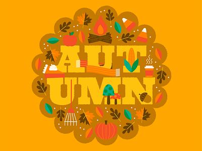 Happy Autumn! autumn leaves autumn vector illustration typography type season pumpkin fall vector colorful happy illustration