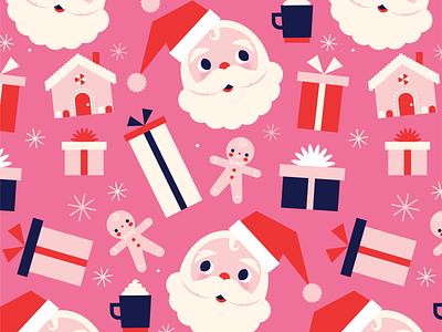 Santa Pattern vintage santa claus mid century santa vector christmas holiday retro character fun cute illustration