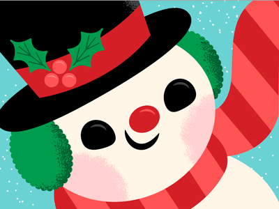 Frosty the Snowman winter snow snowman vintage mid century vector christmas holiday happy retro character illustration cute