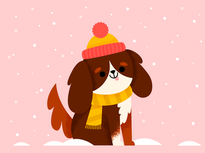 Snow pup christmas cold vector cavalier dog snow winter holiday character fun cute illustration