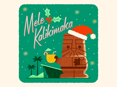 Mele Kalikimaka tiki bar mele kalikimaka santa tikimug tiki christmas holiday retro character fun cute illustration
