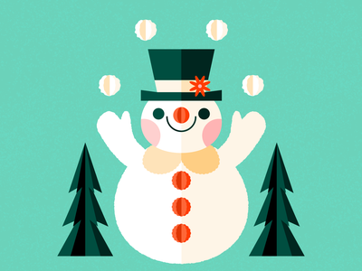 Clown Snowman snowman frosty colorful christmas holiday retro character cute illustration