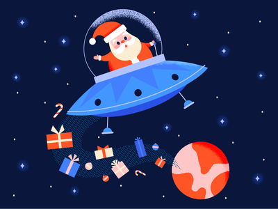 Flying Saucer Santa flying saucer rocket space ufo santa christmas happy holiday retro character cute illustration