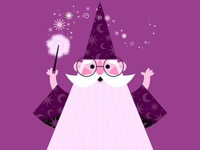 Just like magic merlin wizard magic simple vector character cute illustration