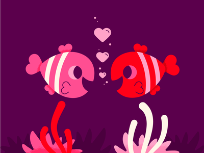 Quit Clowning Around Valentine valentinesday love valentine simple vector holiday character cute illustration clownfish fish