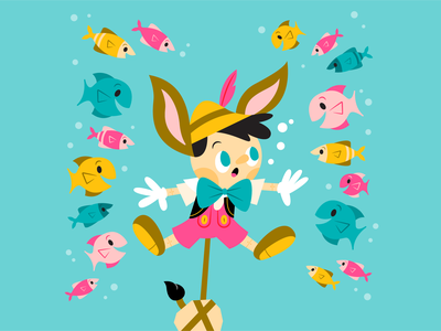 Pinocchio simple vector underwater fish pinocchio disney colorful character cute illustration