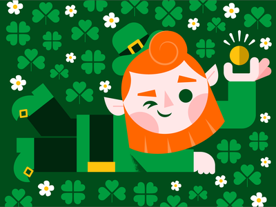 Happy St. Patrick's Day! illustration illustrator character cute green leprechaun st patricks day