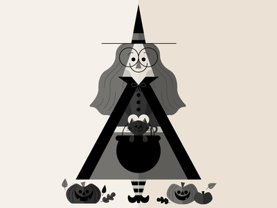 Witchy halloween black cat witch happy holiday retro character fun cute illustration