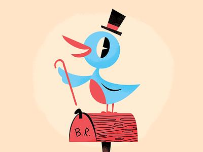 Mr. Bluebird youve got mail dapper disney world happy character illustration splash mountain disney