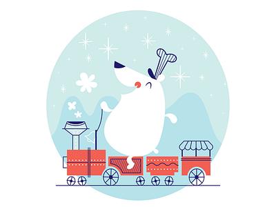 Polar Bear Express happy cute winter north pole train christmas bear