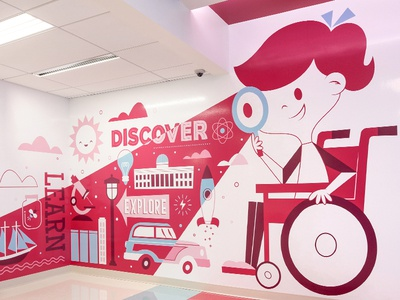 Oishei Children's Hospital colorful design happy fun cute mural environmental hospital childrens illustration