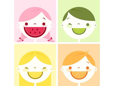 Fruity Cutie children cute summertime summer citrus lime orange lemon watermelon kid fruit