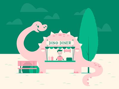 Dino Diner burgers food stand cute diner food brontosaurus dino dinosaur illustration