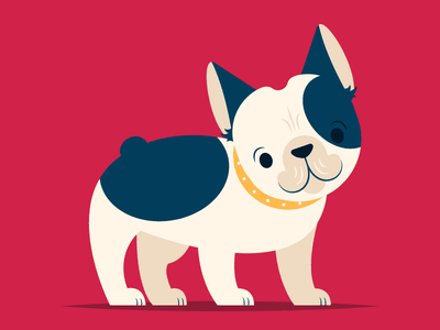 Frenchie simple pet animal illustration puppy dog bulldog frenchie french bulldog