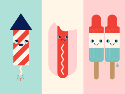 Fourth of July bomb pop sad happy illustration cute red white and blue america firework hot dog popsicle independence day 4th of july