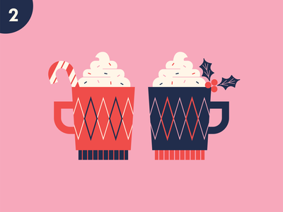 Second Day whipped cream candycane holly festive cup holiday christmas coffee cocoa mug drink retro illustration