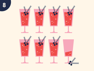 Eighth Day festive alcohol punch champagne bubbly cocktail drink holiday christmas retro illustration fun