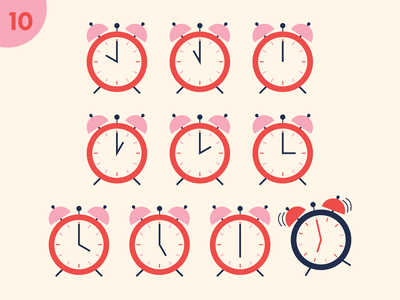 Tenth Day design fun hours clocks illustrator twelve days of christmas clock alarm clock holiday christmas retro illustration