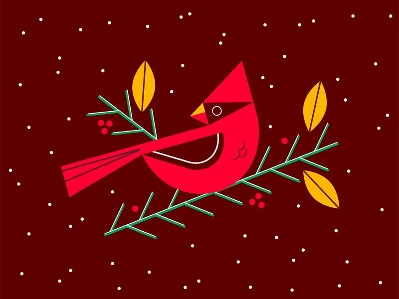 Christmas Cardinal winter scene geometric graphic simple snow cardinal bird winter holiday christmas illustration