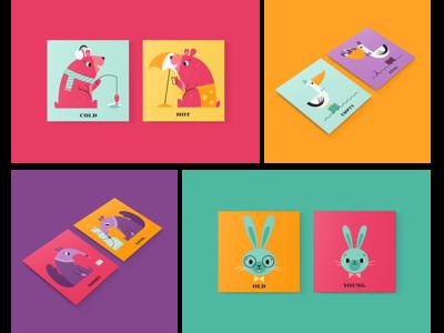 Opposites Matching Game kids game character bunny anteater pelican bear animal design fun cute illustration