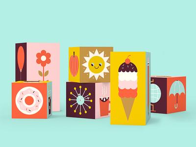 Favorite Things Building Blocks retro fun game illustration mid century donut sun icons ice cream kids toy blocks