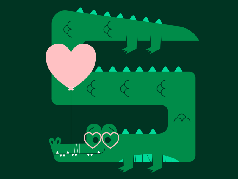 Crocodile Valentine holiday fun cute illustration alligator balloon animal valentinesday valentine love crocodile